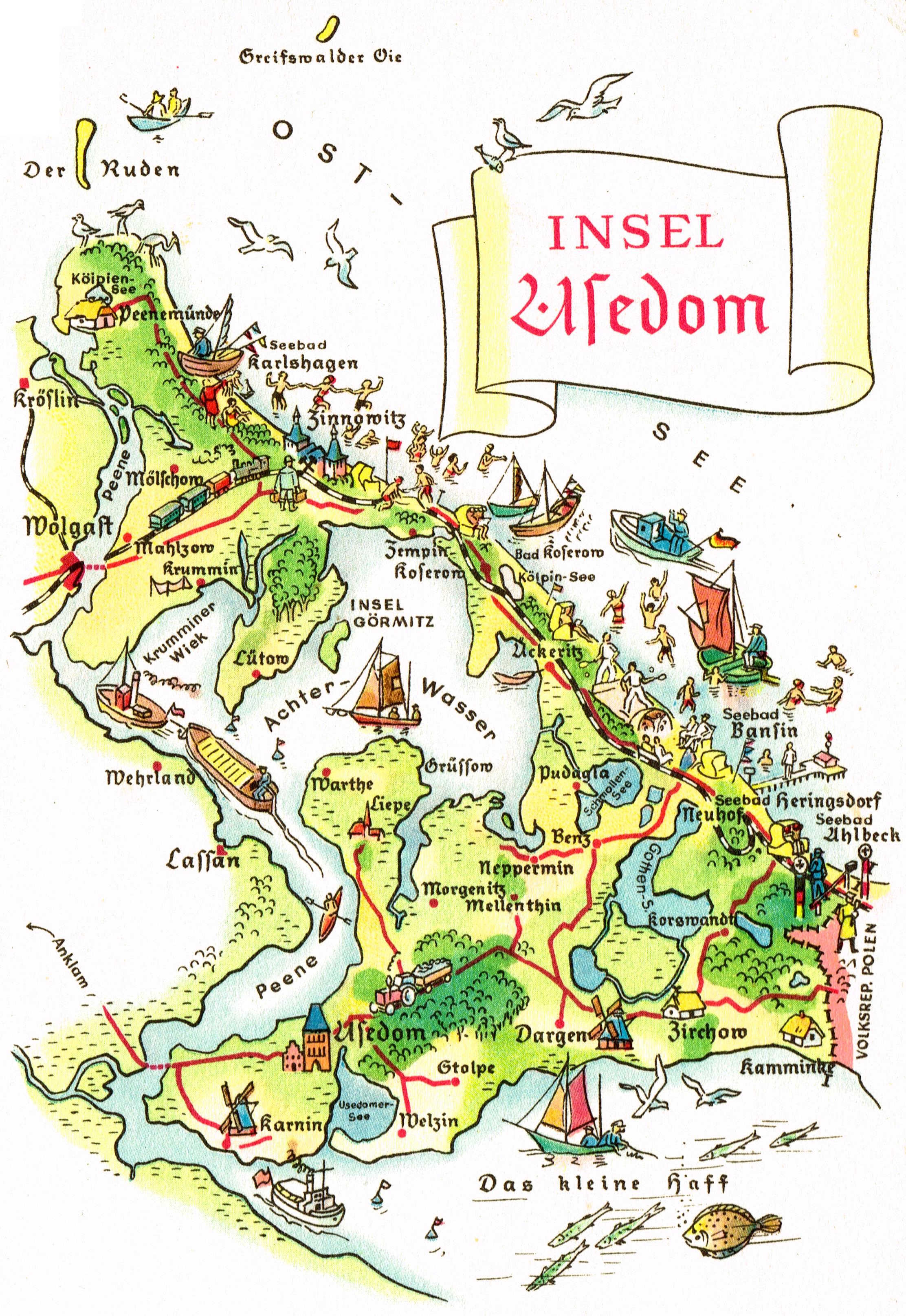 Insel Usedom Karte Ostsee.Karte Der Insel Usedom Creactie